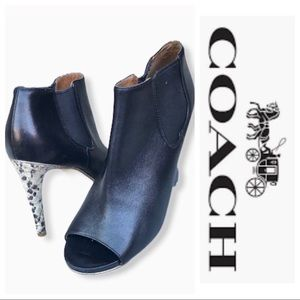 Coach Peep-toe Snake Print Heeled Booties